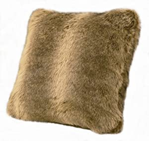 """HiEnd Accents Rustic Faux Wolf Fur Plush Throw Pillow, 1'6"""" x 1'6"""", Brown"""