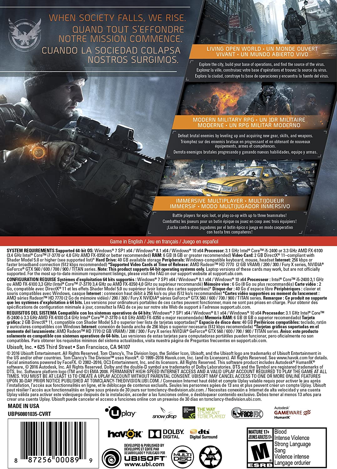 Amazon com: Tom Clancy's The Division [Online Game Code