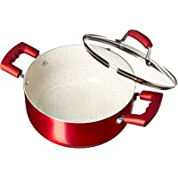 IMUSA USA 4.9Qt Ruby Red Nonstick Dutch Oven with Glass Lid and Soft Touch Handles