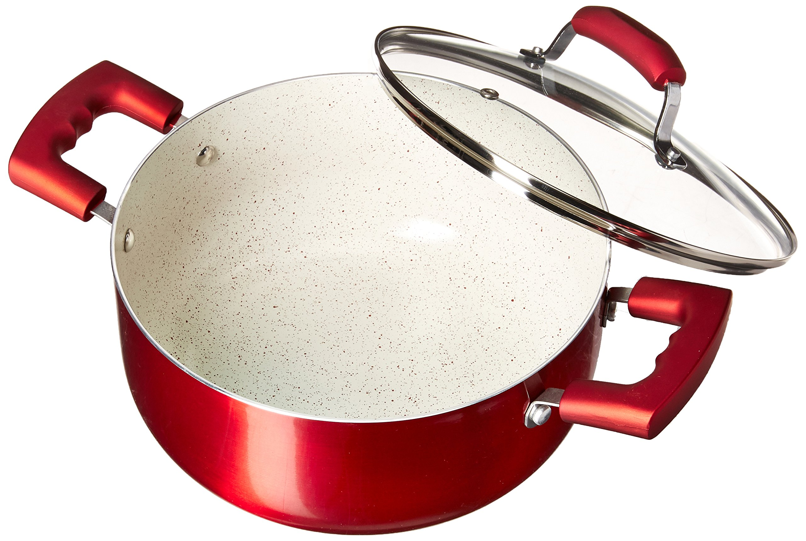 IMUSA USA IMU-25074 4.9Qt Ruby Red Nonstick Dutch Oven with Glass Lid and Soft Touch Handles by Imusa