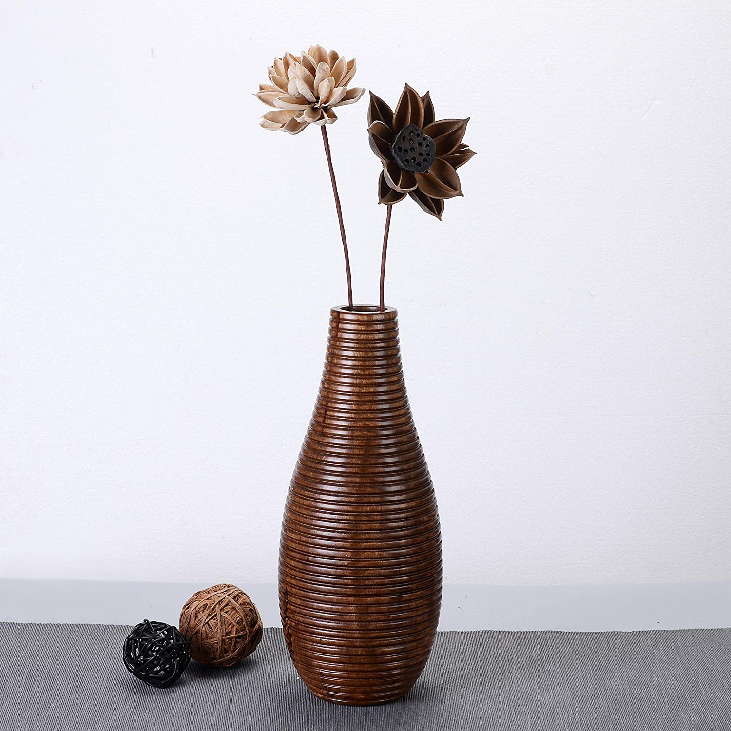Sustainable Wood Decorative Carved Lines Faux Flower Planter Eco-Friendly Villacera Handmade 14 Tall Bottle Mango Brown Round Ripple Vase