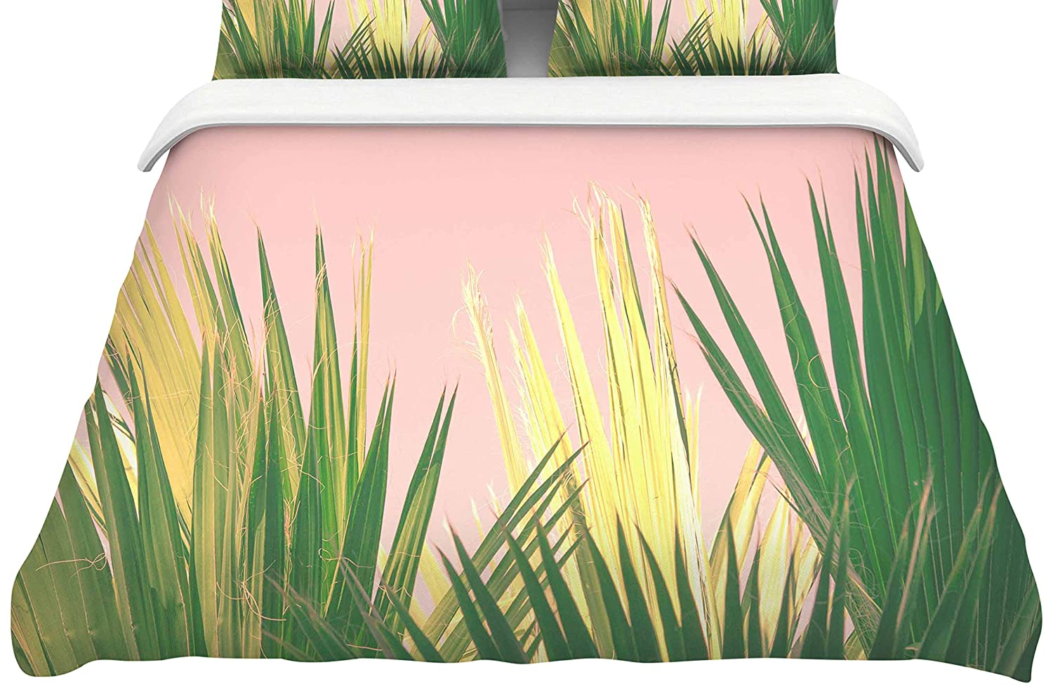 Kess InHouse Ann Barnes Neon Jungle II Pastel Green Photography Twin Featherweight Duvet Cover 68 x 88