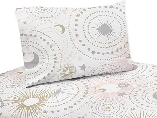 Sweet Jojo Pink Gold Celestial Moon Star Kid Wall Paper Border Room Wallcovering