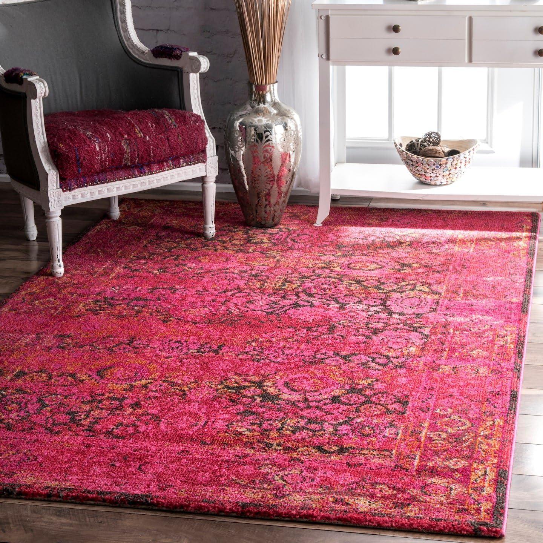 nuLOOM Shuler Vintage Area Rug, 3' x 5', Cherry Pink