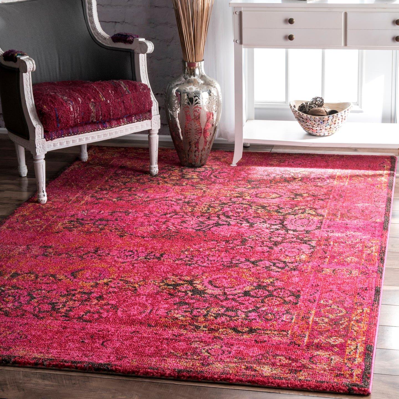 nuLOOM Shuler Vintage Area Rug, 5 3 x 7 7 , Cherry Pink