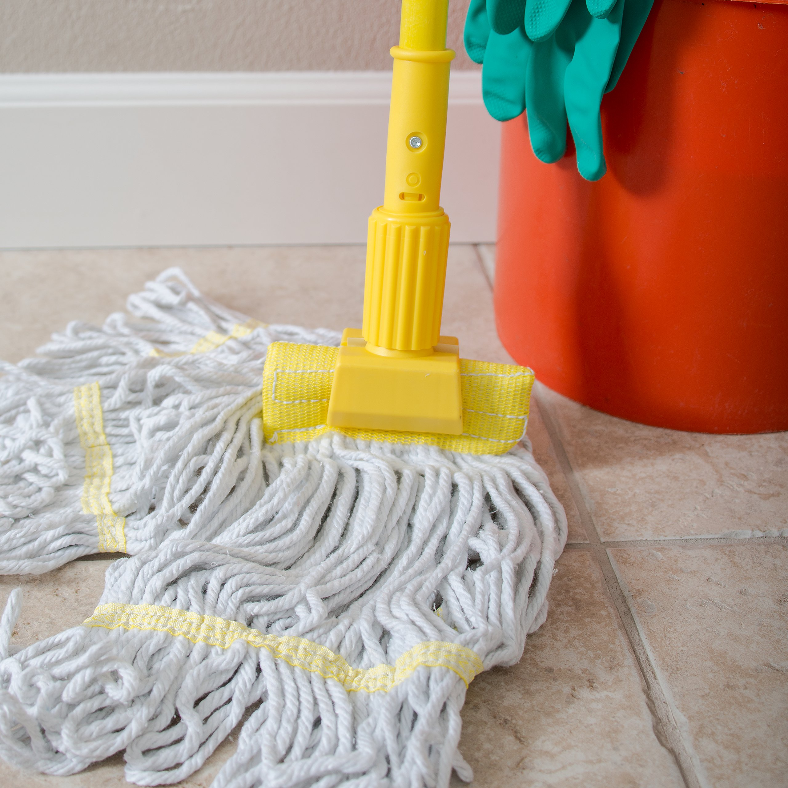 Carlisle 36947504 Commercial Jaw Clamp Fiberglass Wet Mop Handle, 60'', Yellow by Carlisle (Image #5)