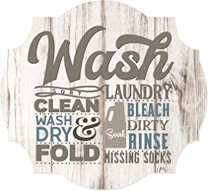 MRC Wood Products Laundry Wash Sort Clean Fold Scalloped Distressed Sign 12x13