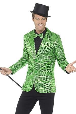 Smiffys Chaqueta de Lentejuelas, Verde, para Hombre