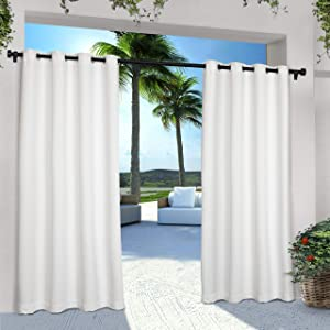 Exclusive Home Curtains Indoor/Outdoor Solid Cabana Grommet Top Curtain Panel Pair, 54x108, White, 2 Piece