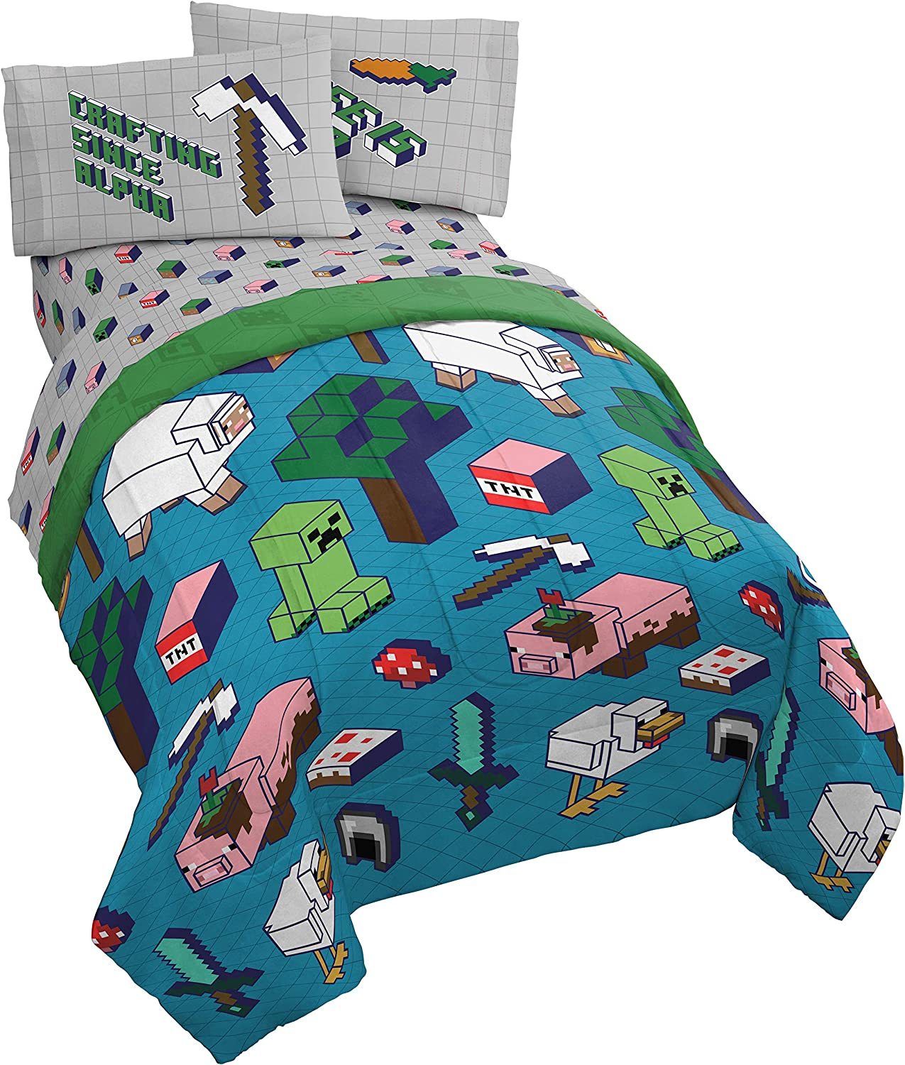 Minecraft Genda Iso Animals 11 Piece Full Bed Set - Includes Reversible  Comforter & Sheet Set - Bedding Features Creeper - Super Soft Fade  Resistant