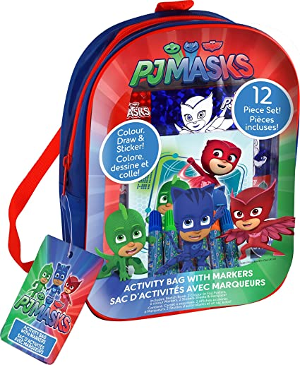 PJ Masks Activities in a Bag Color Drawing Sketchbook and Posters with Stickers - 12 Piece