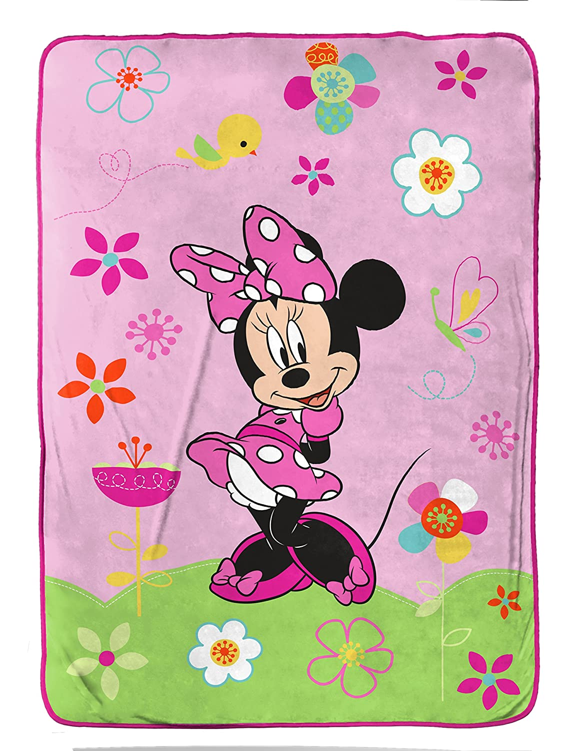 Disney Minnie Mouse Bowtique 'Garden Party' Fleece 62 x 90 Twin Blanket Jay Franco and Sons Inc. JF24457TRUCD
