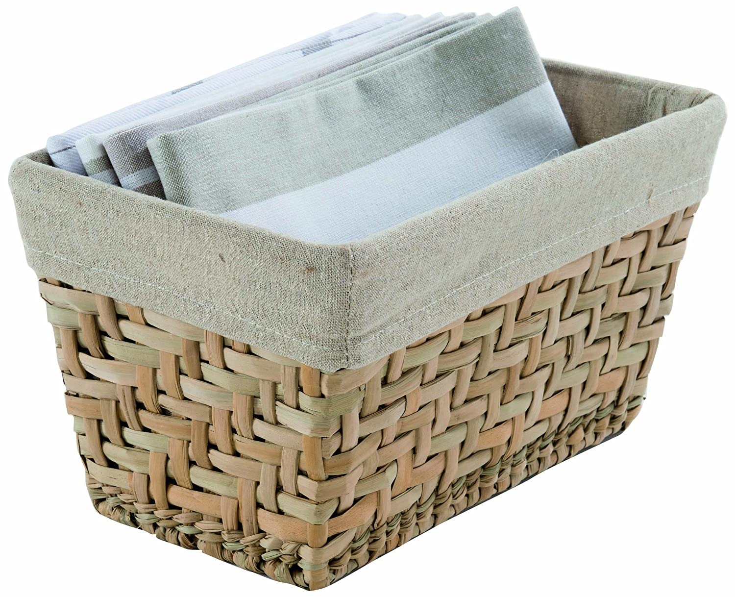 Compactor Fiesta Small Seagrass Storage Basket with Lining, Brown C.I.E. Europe B00G69LZO4