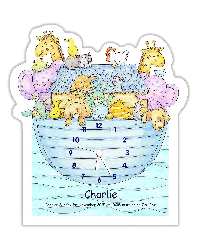 Personalised baby or children's nursery / bedroom wall clock - Noah's Ark design (blue) The Marmalade Cat