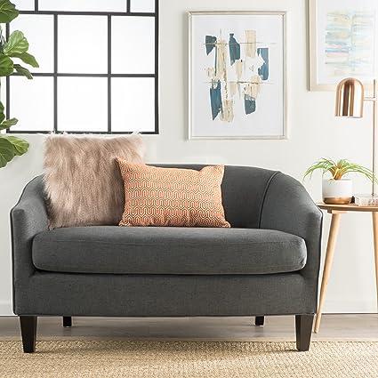 Isolde Modern Petite Loveseat Fabric Or Leather Dark Grey Fabric