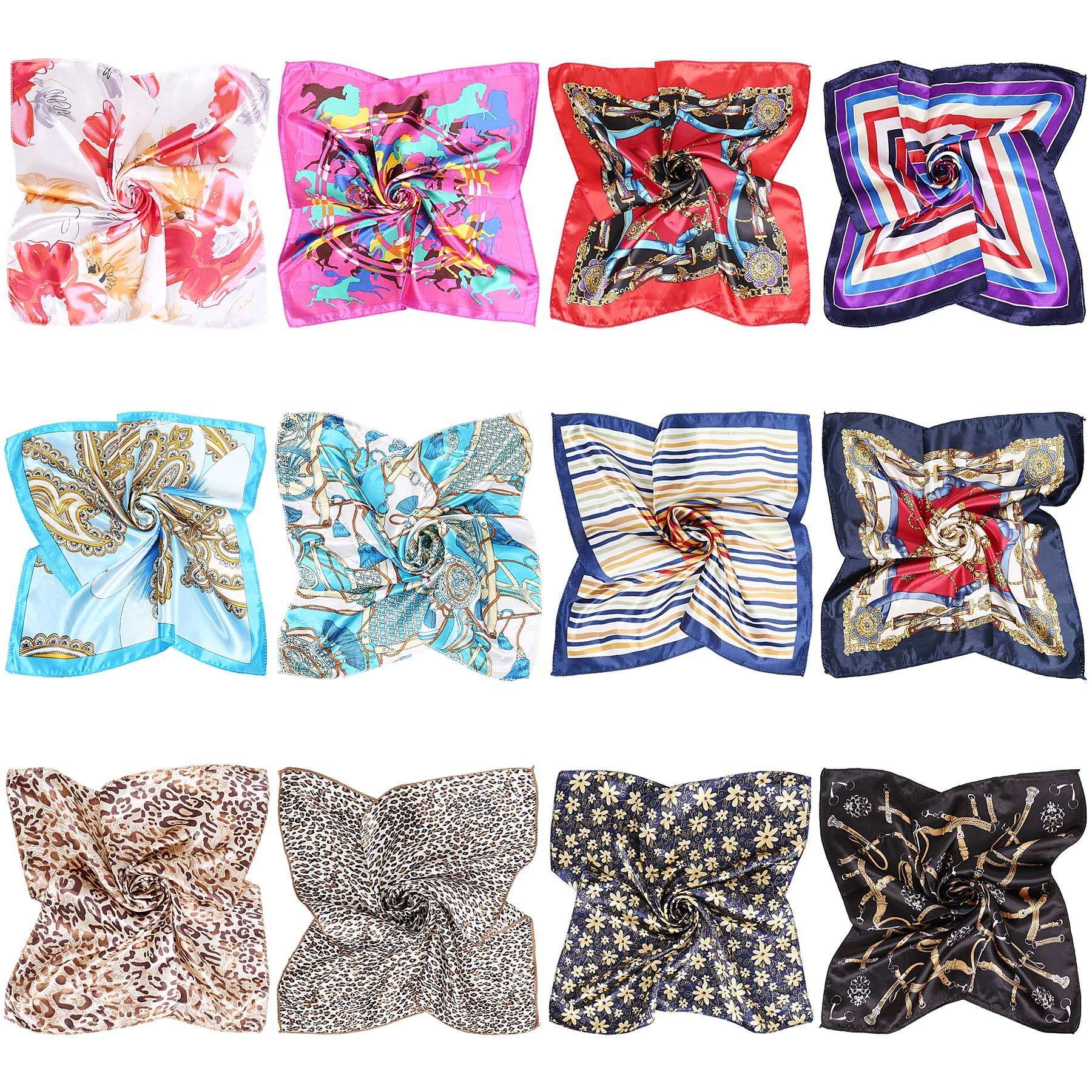 BMC 12pc Women's Silky Scarf Square Mixed Pattern & Colors Fashion Accessory Set -A Little Bit of Everything Pack