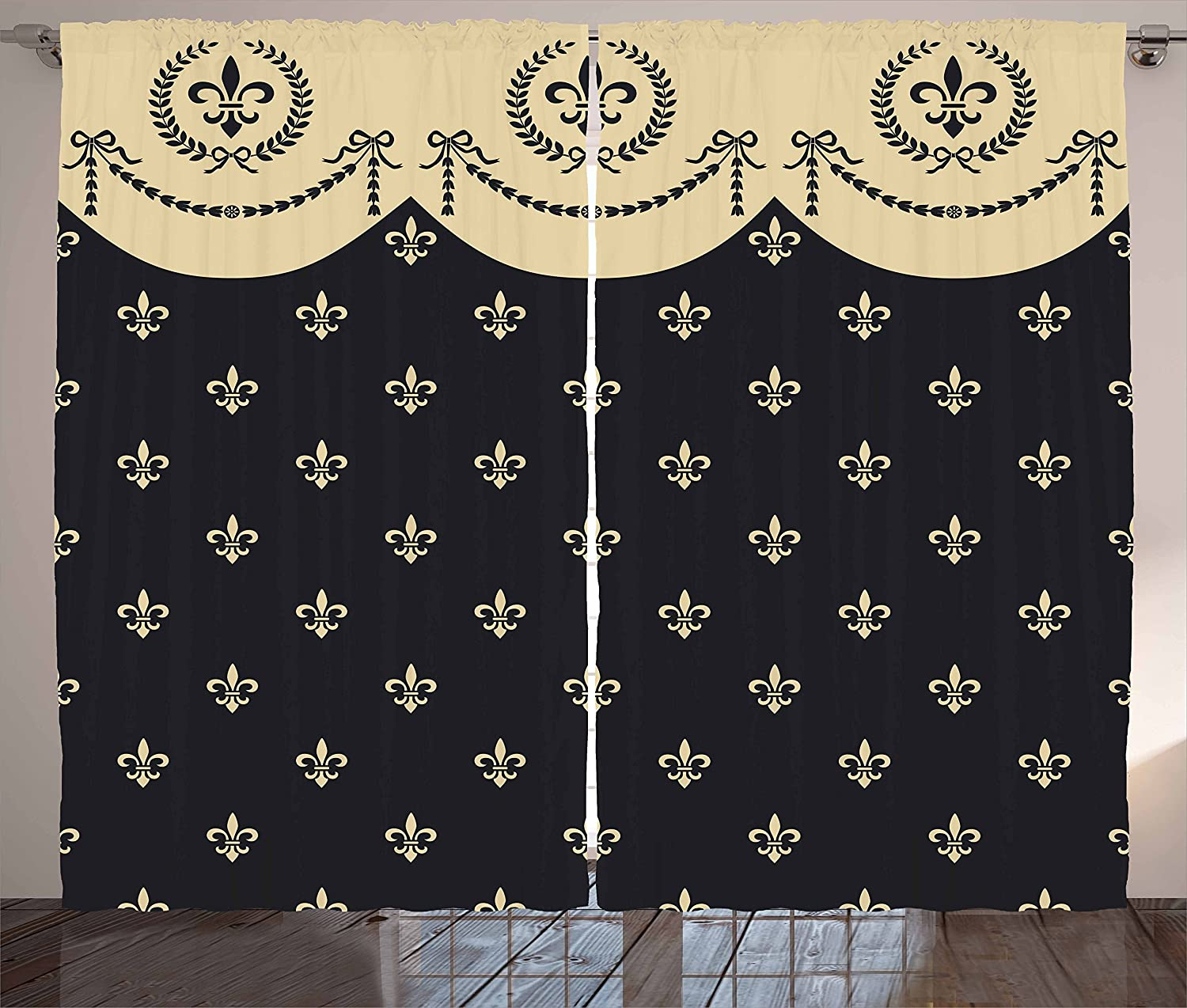 Ambesonne French Curtains, Pattern of Fleur de Lis Illustration Baroque Inspired Print, Living Room Bedroom Window Drapes 2 Panel Set, 108