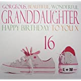 WHITE COTTON CARDS Gorgeous Beautiful Wonderful Granddaughter Happy 16 Handmade