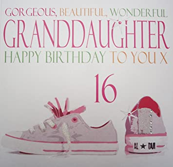 WHITE COTTON CARDS Gorgeous Beautiful Wonderful Granddaughter Happy 16 Handmade Large 16th