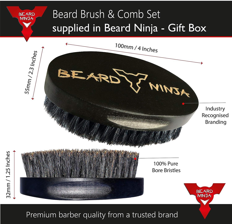BEARD NINJA - Beard Brush & Comb Set for Men – 100% Boar Bristle Wood Brush & Handmade Sandalwood Comb kit - Luxury Gift for Grooming Styling & ...