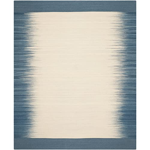 Safavieh Kilim Collection KLM961A Hand Woven Beige and Light Blue Premium Wool Area Rug 8 x 10