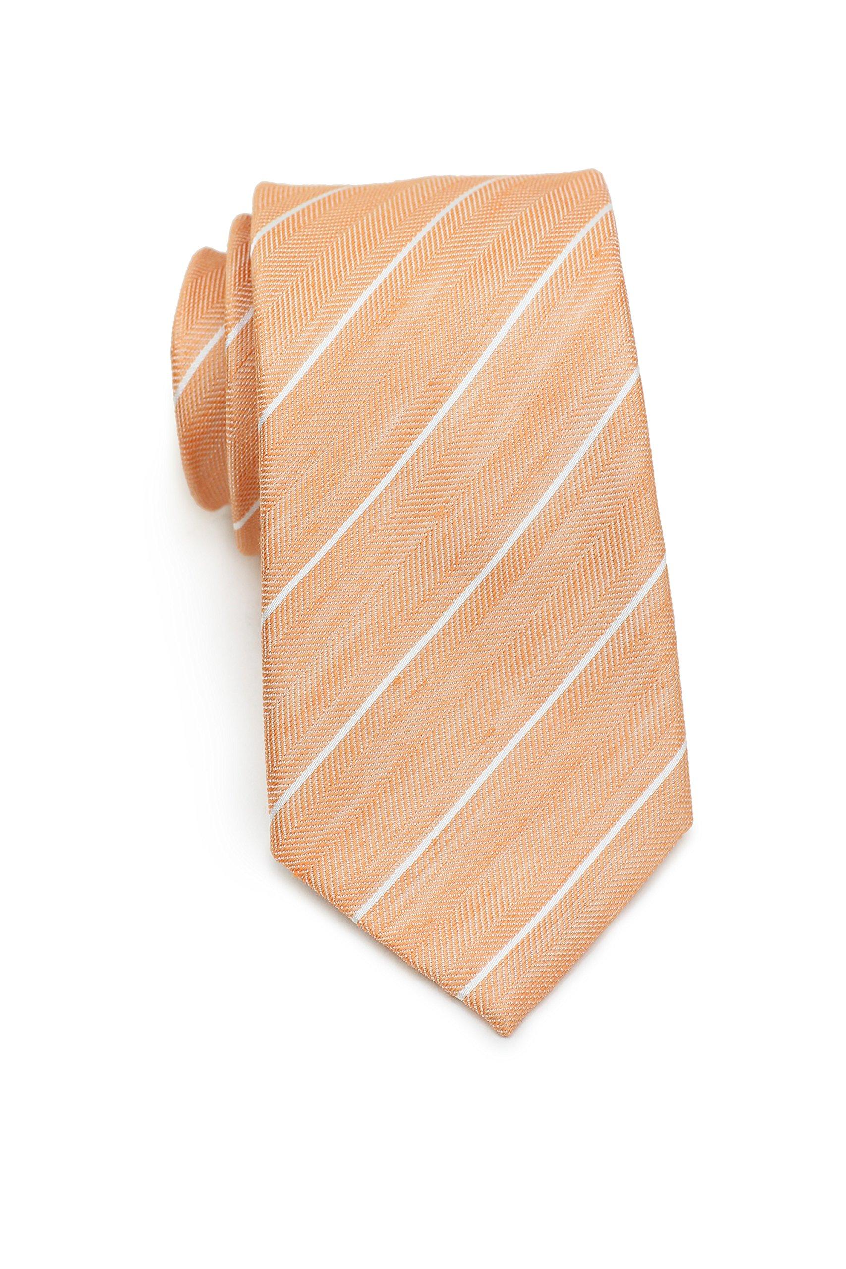 Bows-N-Ties Men's Necktie Summer Pastels Linen Skinny Matte Tie 2.75 Inches (Tangerine Orange Stripes)