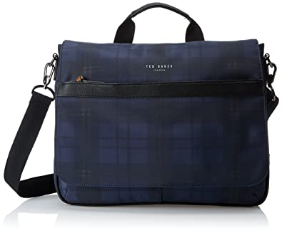 5100456f99c1 Ted Baker Kresent Navy Check Messenger Bag Size  One Size  Amazon.co ...
