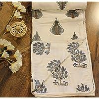 """Nomadic Weaves 100% Cotton Single Reversible Dohar 56""""x 90"""" ( White and Green Tree Motif)"""