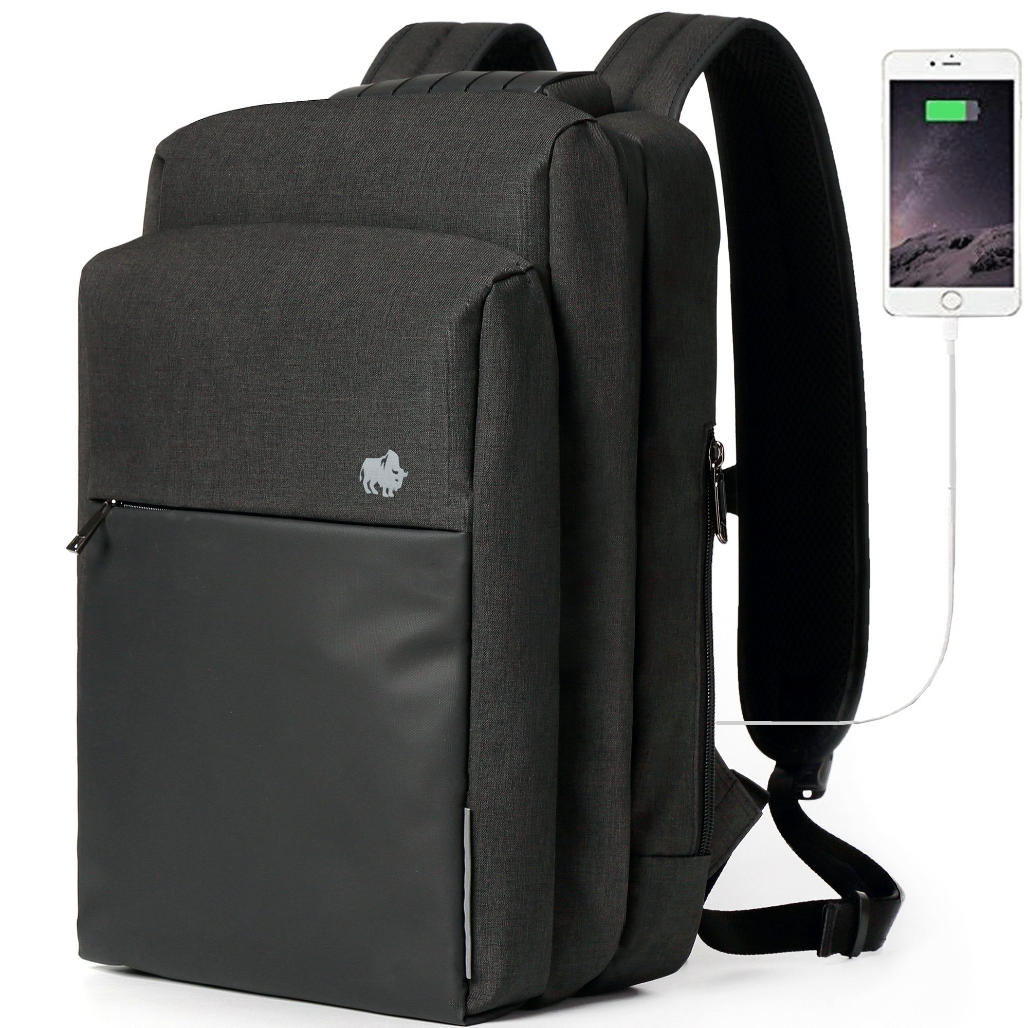 BISON DENIM 15.6 Inch Laptop Backpack Water Resistant Travel Backpack Mens Computer Bag with USB Charging Port