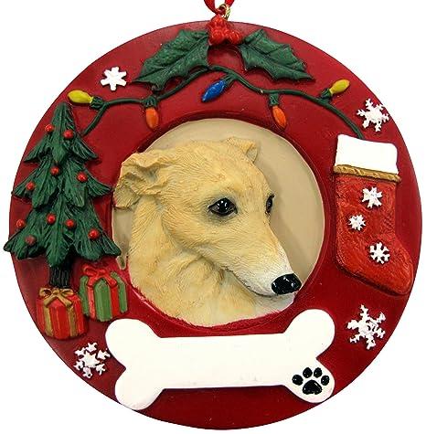 Amazon.com: Greyhound Christmas Ornament Fawn and White Wreath ...