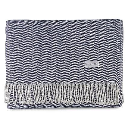 Amazon Sferra Celine Herringbone 40% Cotton Throw Blanket Stunning Navy Cotton Throw Blanket