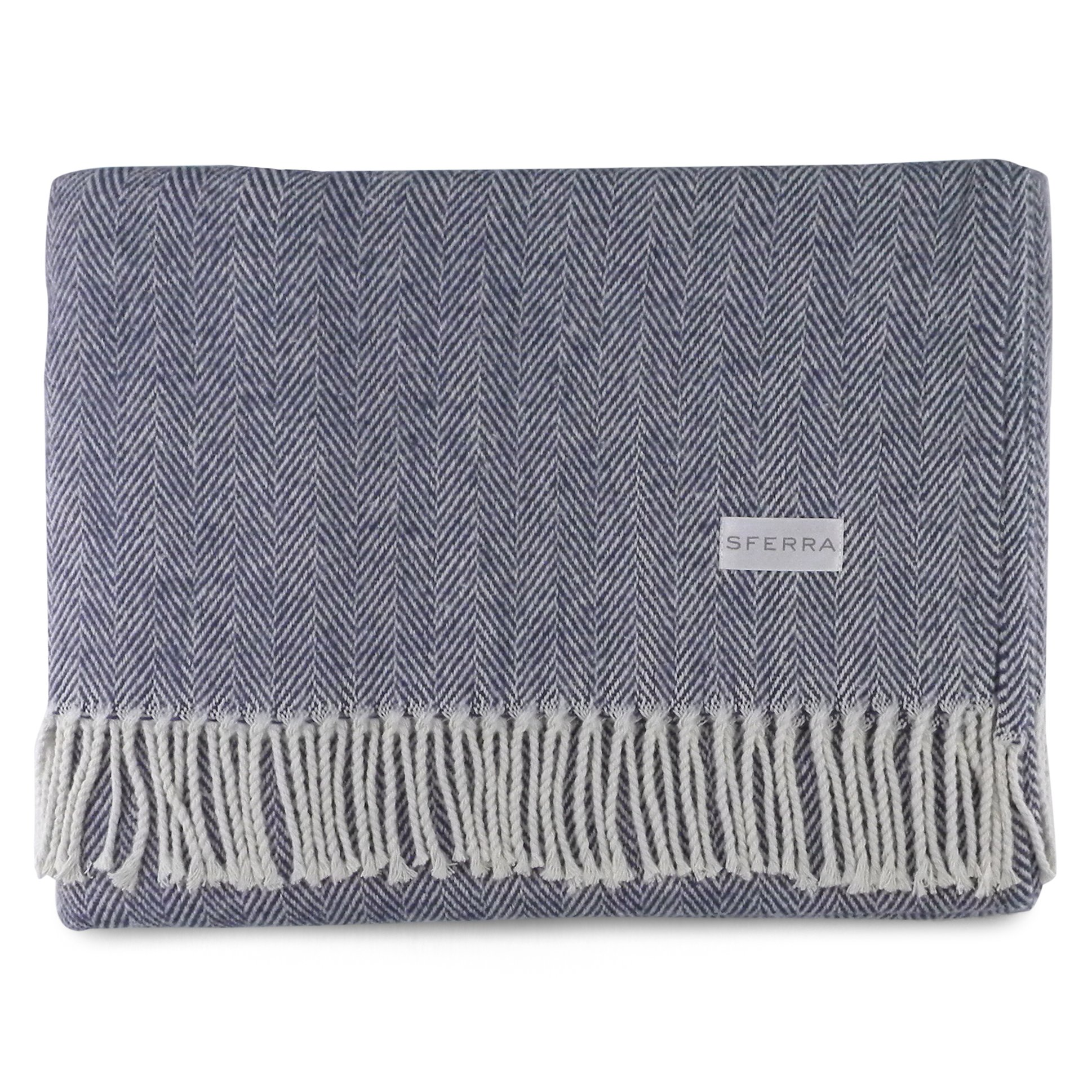 Sferra Celine Herringbone, 100% Cotton Throw Blanket - Navy