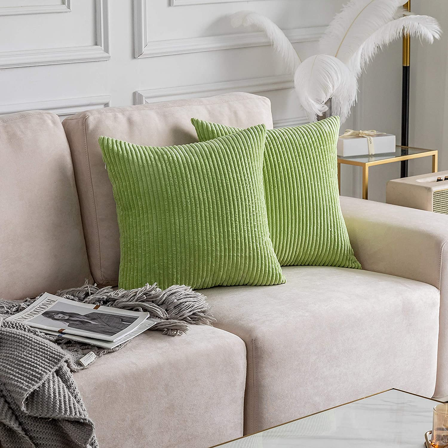 Home Brilliant Decorative Throw Pillowcases Striped Super Soft Corduroy Couch Accent Pillow Covers for Wedding Gift? Set of 2, Apple Green, 22x22 Inches(55cm)