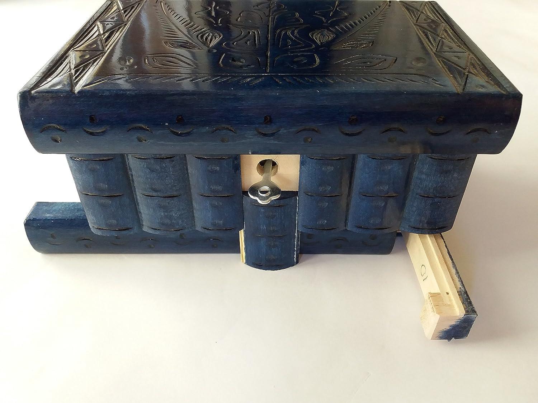 Caja puzzle nuevo grande océano azul caja de joyas talladas caja ...