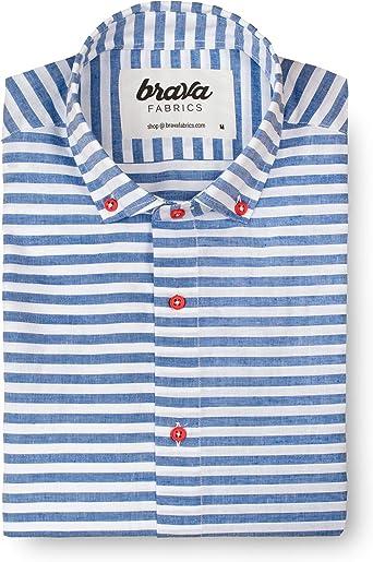 Brava Fabrics | Camisa Hombre Manga Corta Estampada | Camisa Azul para Hombre | Camisa Casual Regular Fit | 100% Algodón | Modelo Linen Picasso Essential | Talla M: Amazon.es: Ropa y accesorios