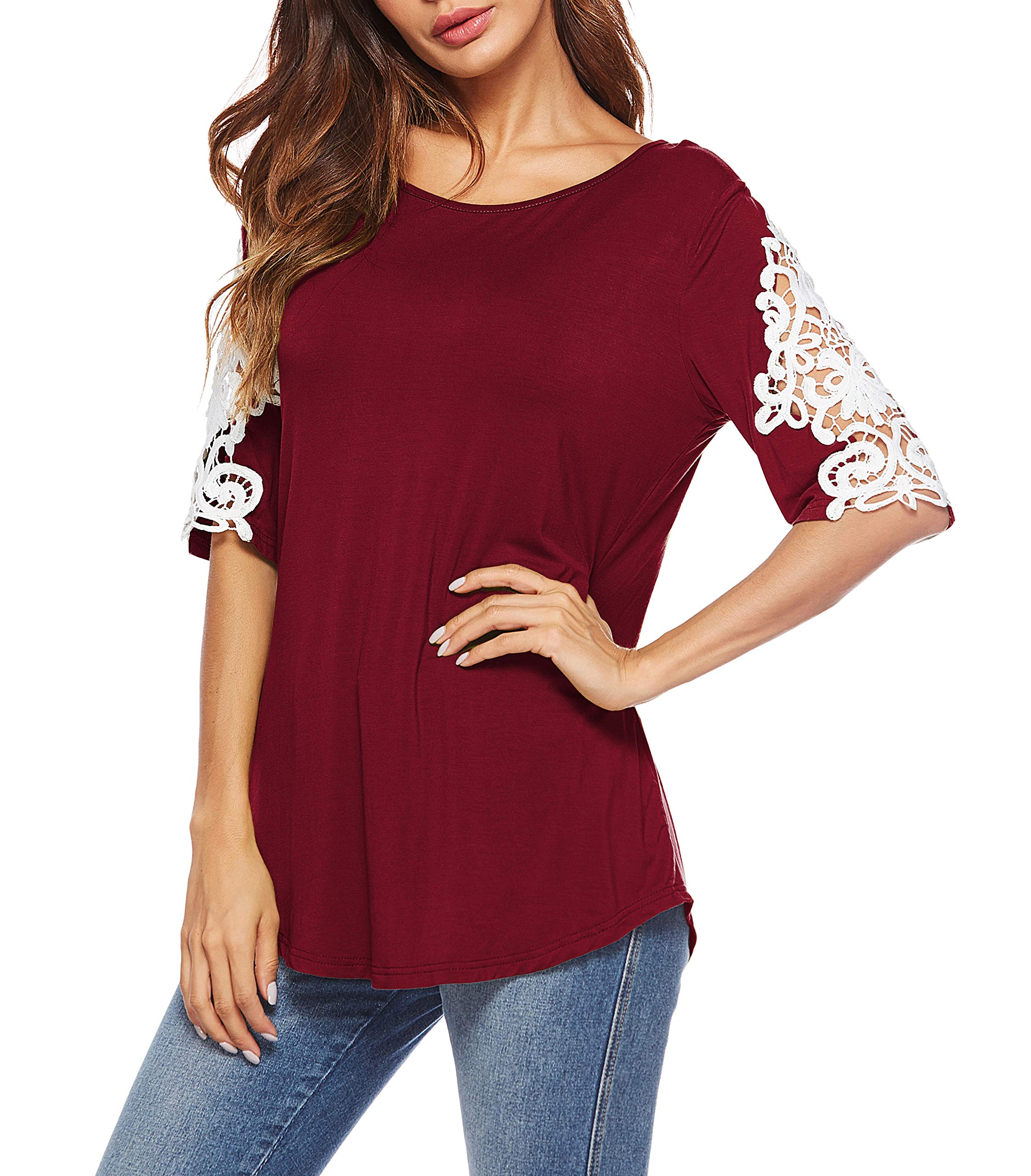Oyanus Womens Shirts Casual Tee Round Neck Short Sleeve Lace Tunic Tops Blouses Burgundy M