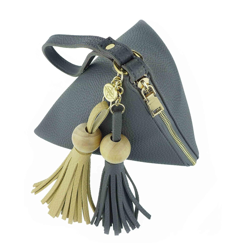 TheStyleAssistant 'BOUNCE Handtasche Clutch in Pyramidenform aus Vegan Leder und Quaste TASSEL Anhä nger, Pouch, Pyramide, Handgelenktasche, klein, RAINDANCE EDITION, T-F16-05
