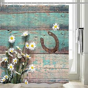 Rustic Shower Curtain, Rusty Horseshoe Daisy Old Barnwood Western Fabric Bathroom Curtain with Hooks Country Farmhouse Style Artwork Retro Teal Bathroom Decor, Rustic Shower Curtain (69