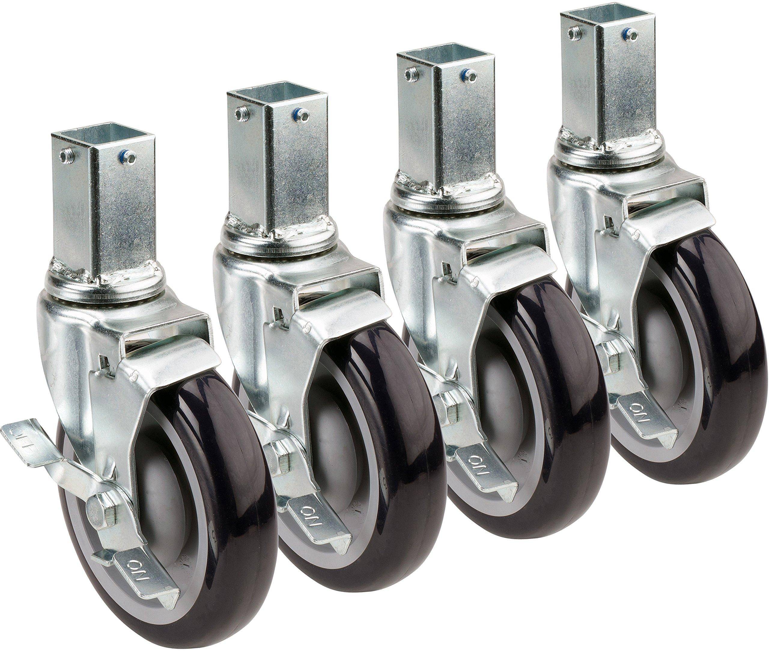 Krowne Metal 28-172S Set of (4) 1'' Square Post Shelving Casters with Locking Wheels, 5'' Diameter (Raises Height 6'')