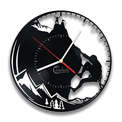 Handmade Solutions Mountain Climbing Art Vinyl Record Wall Clock - Active Sport Home Interior Design Living