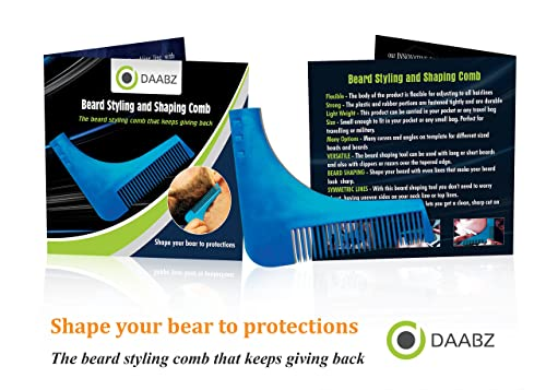 Beard Shaping Tool Template Shaper Beard Guide line up Shape up Curve Cut, Step Cut, Neckline & Goatee (BLUE)