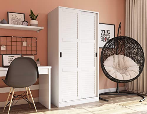 100 Solid Wood 2-Sliding Door Wardrobe Armoire Closet Mudroom Storage by Palace Imports 5661 White. 1 Large Shelf, 1 Clothing Rod Included. Extra Optional Shelves Sold Separately. Requires Assembly