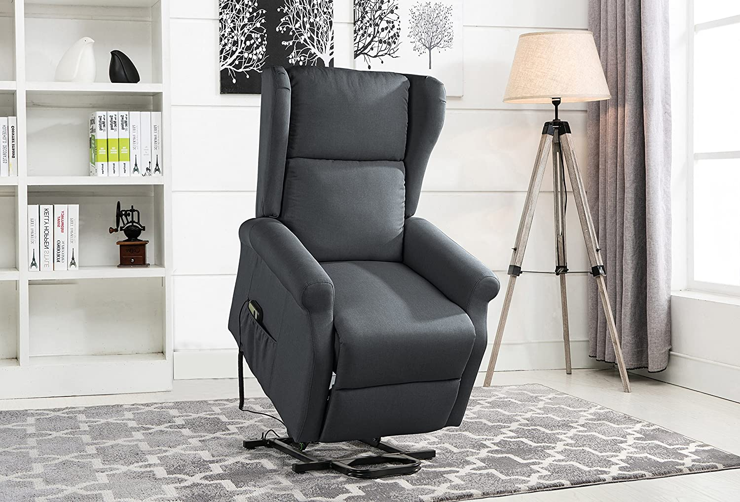 Power Recliner Chair, Lift Chairs, Linen Living Room Reclining Armchair (Dark Brown) Divano Roma Furniture REC39-FB