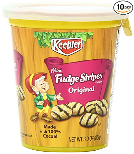 Keebler Mini Cookies Cup, Fudge Stripe, 3 Ounce (Pack of 10)