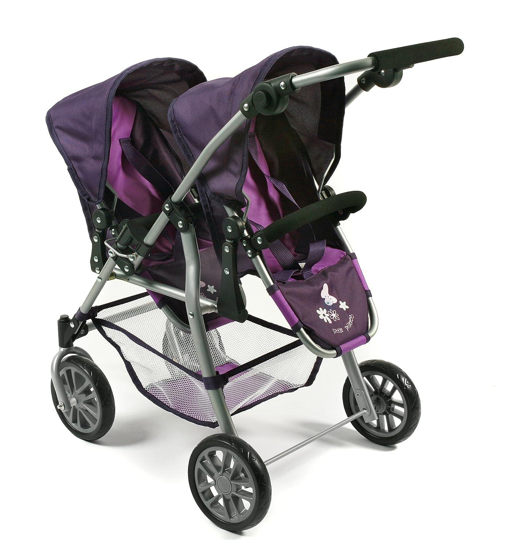 Amazon.es: Bayer Chic 2000 nbsp;691 25 - Tandem muñecas Buggy Twinny, ciruela, color lila: Juguetes y juegos