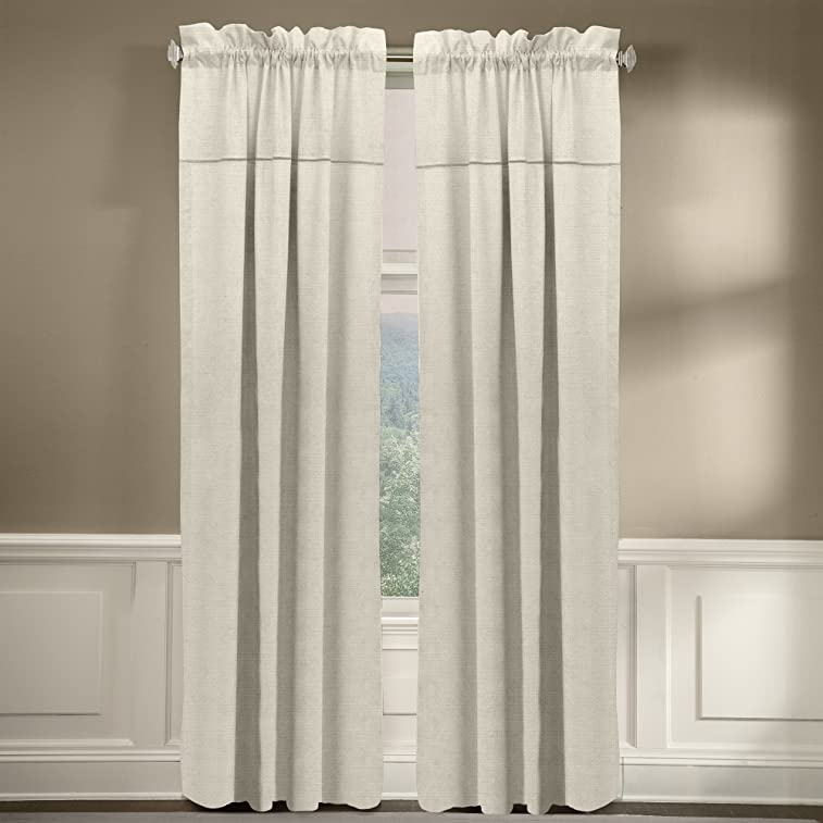 """Veratex The Monterey Window Collection Made in the U.S.A. 100% Linen Living Room Rod Pocket Window Panel Curtain, Pearl, 96"""""""