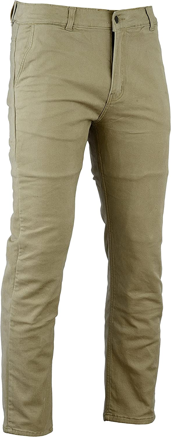 Size 30R Bikers Gear Australia New Modern Chino Style Kevlar Lined Protective Motorcycle Jeans with CE 1621-1 Protection Tan
