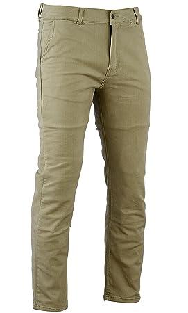 Bikers Gear Australia Limited Kevlar - Pantalones vaqueros de motocicleta de estilo moderno, protección CE, color marrón chino, talla 32R