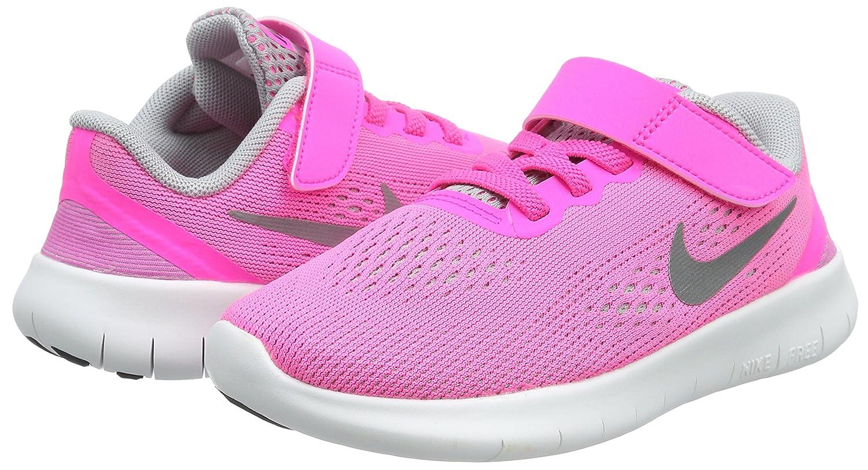 NIKE Girls Free Run Training Running Shoes Pink Blast//Metallic Silver 2.5 Y Pink Blast//Metallic Silver