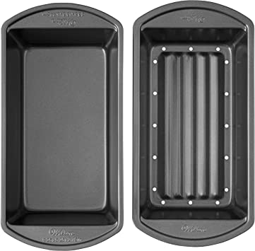 Wilton Perfect Results Premium Non-Stick Bakeware Meatloaf Pan Set, Reduce the Fat and Kick Up the Flavor, 2-Piece Set, 9.25 x 5.25 x 2.75 inch